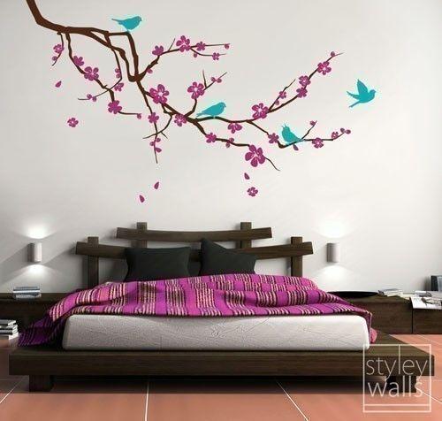 Etiqueta de la pared pared calcomanía rama flor de cerezo y aves flores Wall Sticker rama - EXTRA grande