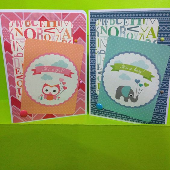 New Arrival Cards by Greeting Grub Cards made using Kaisercraft's Little One collection