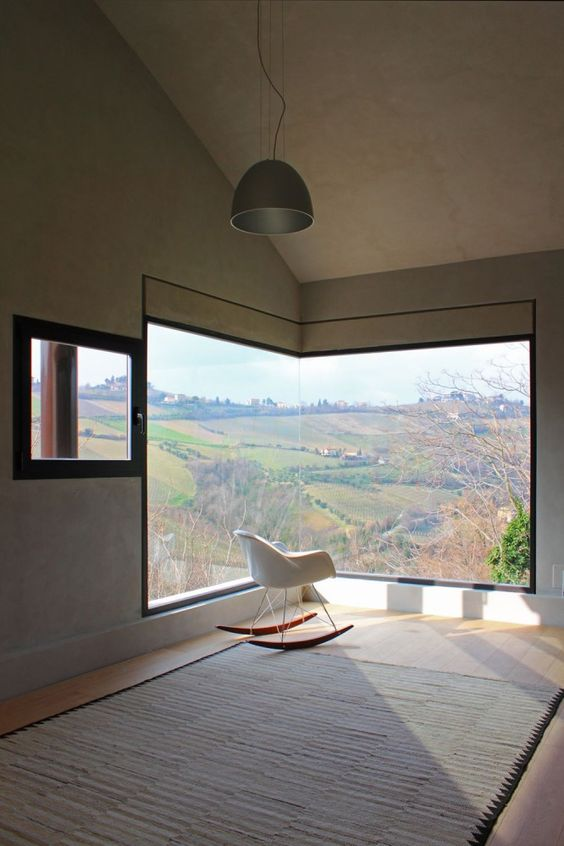 Windows as landscape frames at Picture House in Ripatransone, Italy by Barilari Architteti
