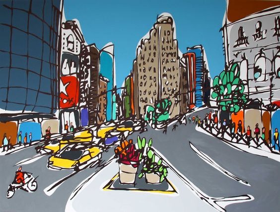 Manhattan Intersection by Rachel Tighe. Original Art in the gallery!