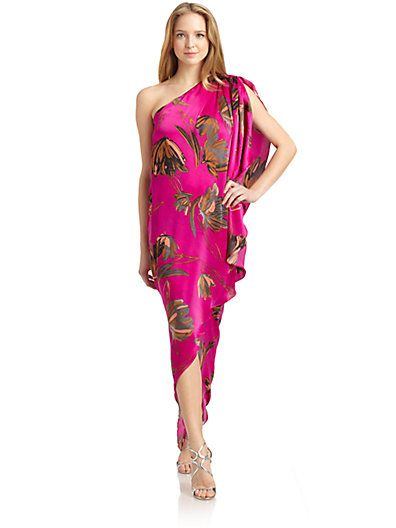 Halston Heritage  One-Shoulder Printed Silk Dress