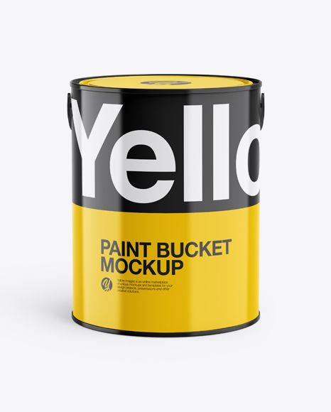 5l Glossy Paint Bucket Mockup In Bucket Pail Mockups On Yellow Images Object Mockups Mockup Psd Mockup Free Psd Mockup