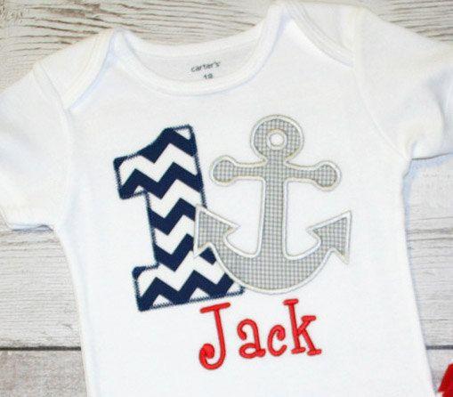 Boys or Girls Chevron Anchor Nautical Birthday Applique Shirt-- Navy Chevron Birthday- Photo Prop, Cake Smash, First Birthday Shirt on Etsy, $28.00