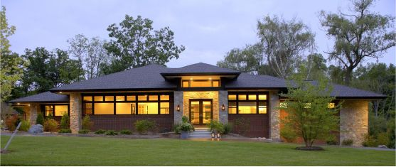 Modern homes home and lakes on pinterest for Modern hip roof house plans