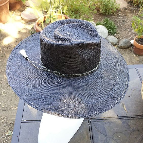 Corina Haywood Hat Hand Sculpted Panama Straw Hat 'Leo' in black with vintage horsehair braid hat band. contact corinamyla@gmail.com for sales inquiries.