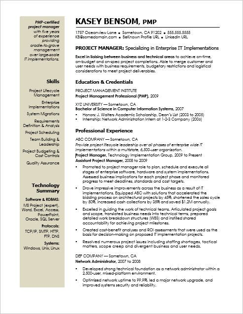 Sample Resume For A Midlevel It Project Manager Project Manager