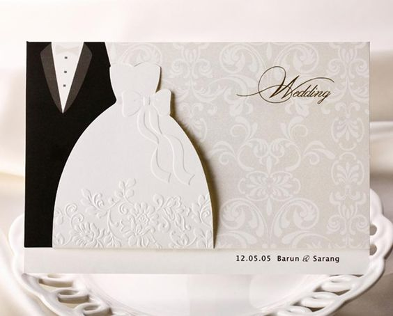 Personalized Wedding Invitations Cards Traditional Tuxedo Dress – Traditional Engraved Wedding Invitations