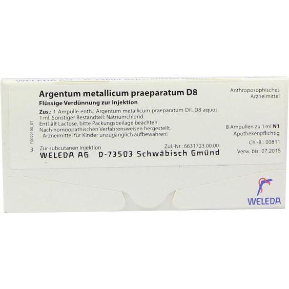 ARGENTUM METALLICUM präparatum D 8 Ampullen:   Packungsinhalt: 8 St Ampullen PZN: 01617889 Hersteller: WELEDA AG Preis: 12,49 EUR inkl.…