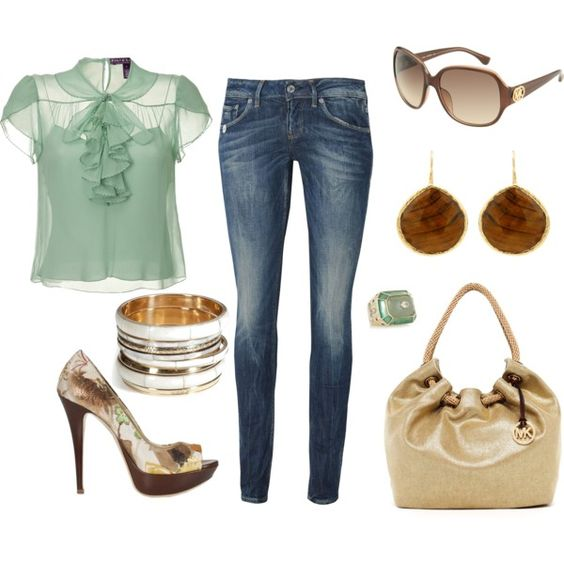Brown and Mint, created by lovenorchids on Polyvore
