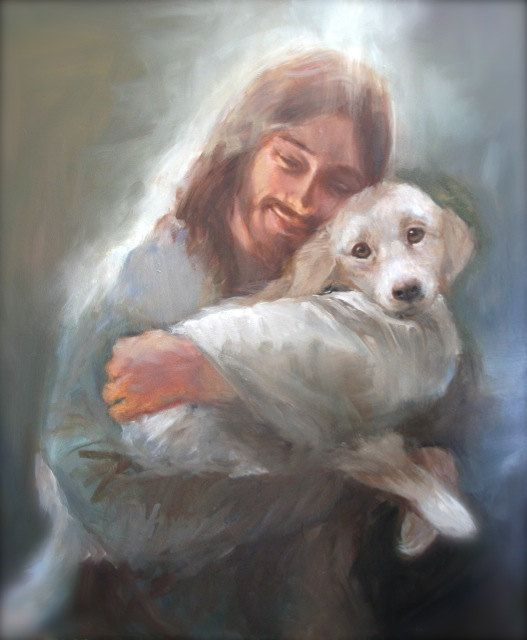 Jesus with A White Dog