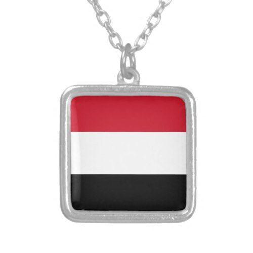 Yemen Flag Silver Plated Necklace Zazzle Com In 2020 Silver Plated Necklace Yemen Flag Silver Plate