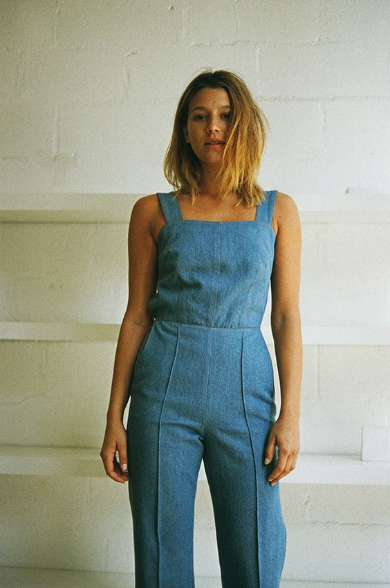 WIDE LEG OVERALL JUMPSUIT, DENIM | chambray denim indigo ...