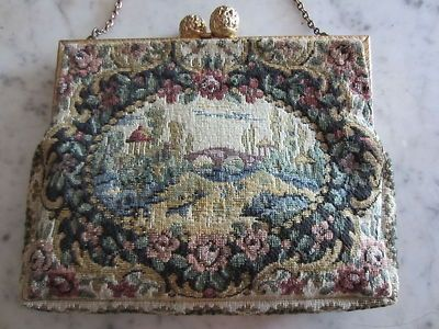 Antique French Petit Point Bag  | Antique Petite Point French Ladies Handbag Purse Colorful Garden Motif ...