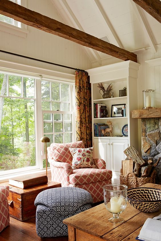 cozy living room wlots of natural light wood accents casual living room lots