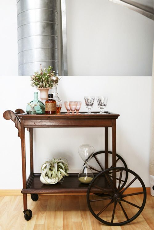 Drink cart. I love the large wheels. Would be perfect with a fall flowers.