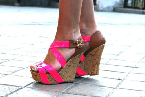 Adorable: Neon Wedges, Pink Cork, Hot Pink Wedges, Cute Wedges, Pink Shoes, Neon Pink, Neon Shoes, Cork Wedges, Shoes Shoes