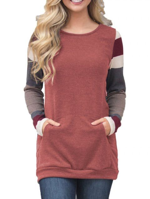 Womens Tops Long Sleeve Teen Girls Casual Solid Color Pockets Loose Tunic Shirts Blouse Sweatshirts Jumpers Clearance