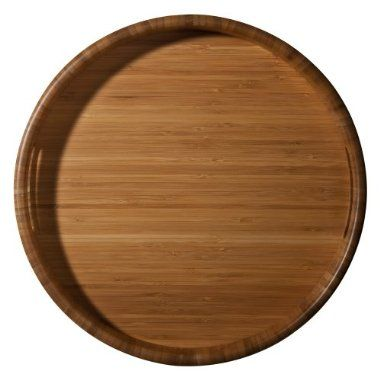 Home Bamboo Round Serving Tray $18.99. For storage on the Kitchen Counter