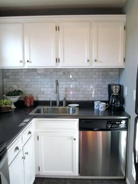 Tile Backsplash White Cabinets Black Countertops Marble Subway
