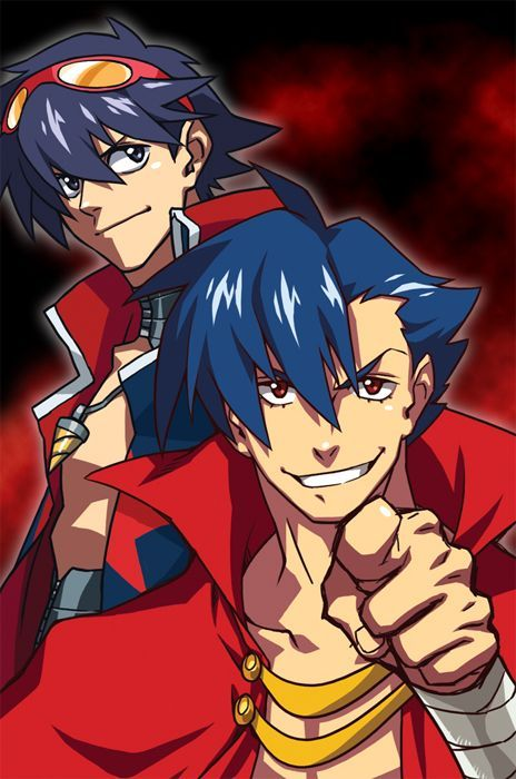 #2boys, #BlueHair, #Goggles, #GogglesOnHead, #Kamina, # ...