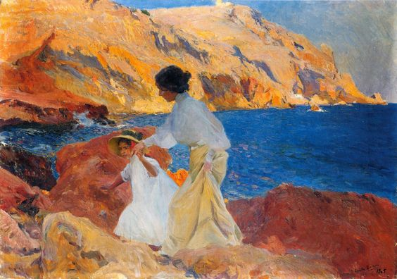 """joaquín sorolla y bastida - """"clotilde and elena on the rocks at javea"""" (clotilde y elena en las rocas, jávea), 1905, oil on canvas."""