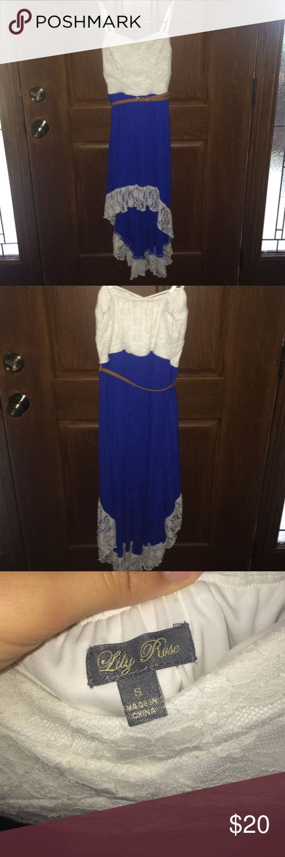 The dress is white - Blue And White Dress This Dress Has A White Lace Top With Padding The Bottom Is A High Low Style Higher In The Front And Lower In The Back