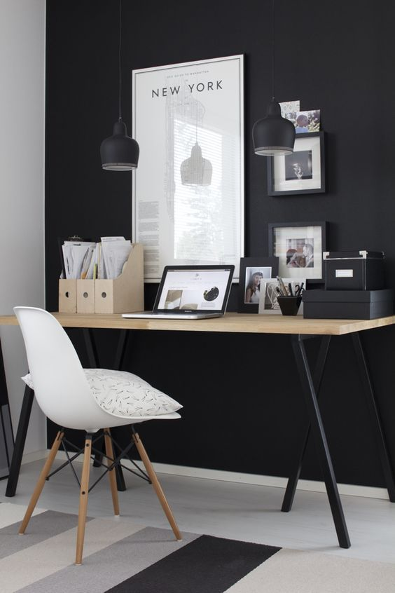 via nordic leaves home office black and white aj desk lamp eames dar chair home pinterest white office chalkboard walls and office spaces - Modern Home Office Desk