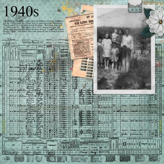 1940s...great Use Of Census Page Reprint And Vintage