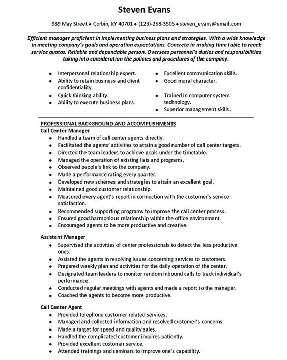 Call center resume for professional with relevant experience - resume for call center