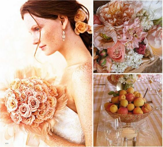 Peach And Pink Wedding Colors | Bride on Rebecca Thuss , Flowers and Centerpiece on Wiggy Flowers