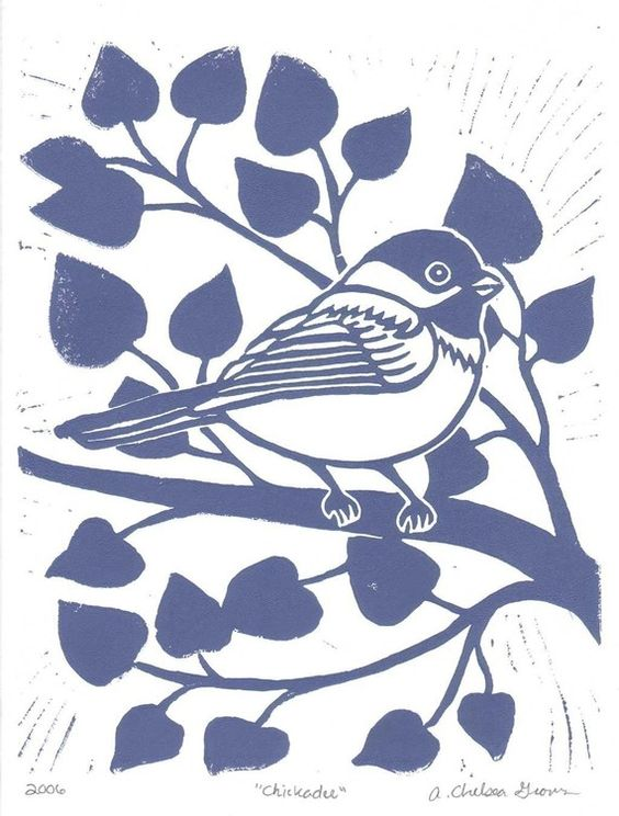 8x10 Linocut titled Chickadee by the Bird Nerd on Etsy - Chelsea Groves