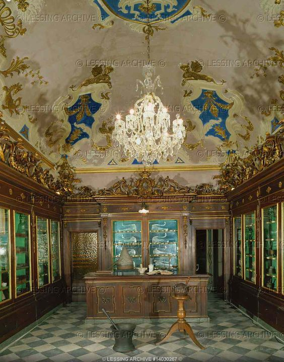 Pharmacy Santa Maria Novella, Florence. The old part of the pharmacy with 18th century cupboards and instruments. Pharmacy Santa Maria Novella, Florence, Italy