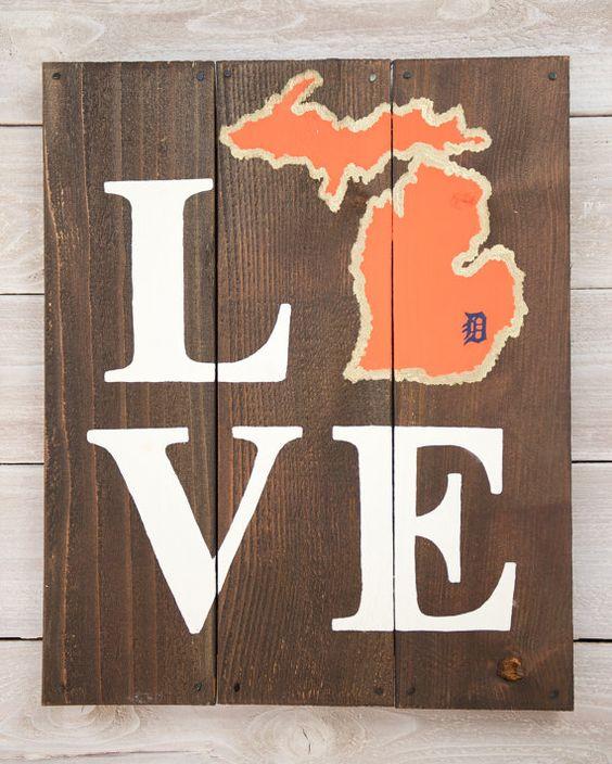 Michigan Man Cave Signs : Love detroit tigers michigan wooden sign signs