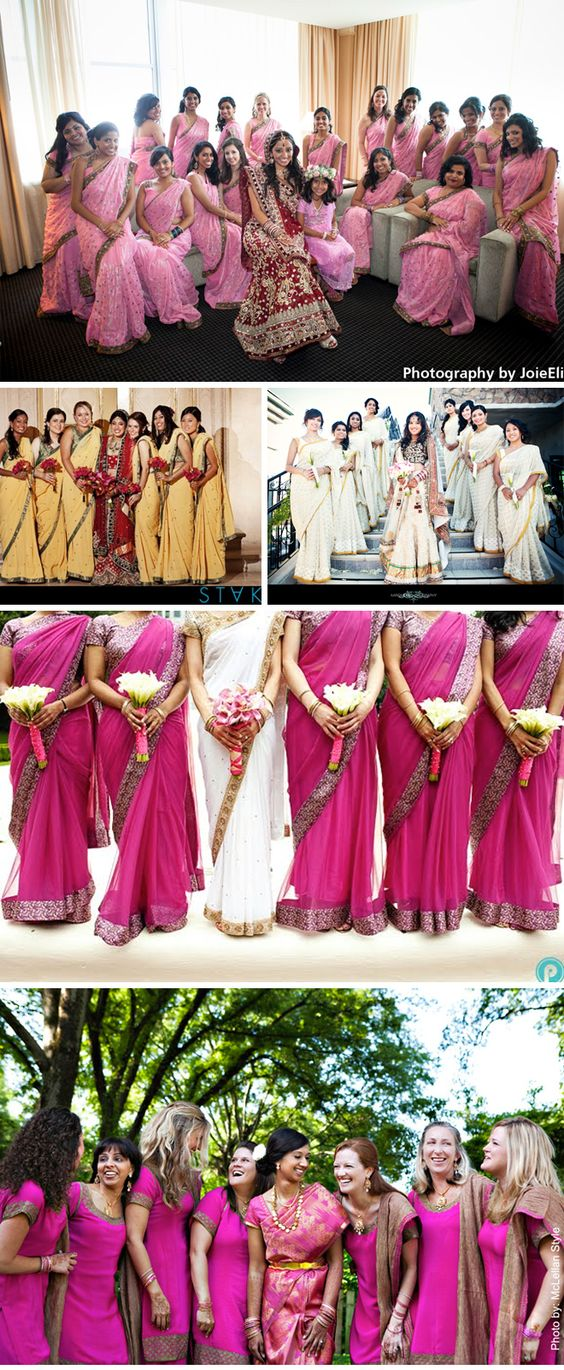 Baby Pink, Yellow, White, Magenta... you name it. Stunning colours for bridesmaids' sarees