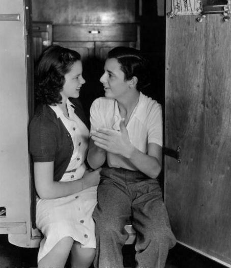 Judy Garland & Freddie Bartholomew on set for Listen Darling.