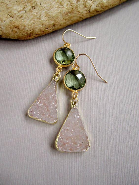 Agate Druzy Earrings Druzy Drops Drusy Quartz Green Amethyst Gold Vermeil Bezel Set on Etsy, $135.00