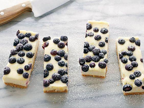 Tyler's Lemon Blueberry Cheesecake Bars #Cheesecake #Blueberry