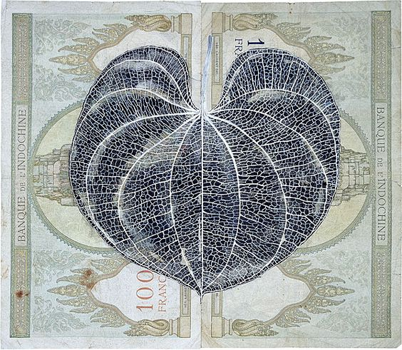 Fiona Hall Leaf litter: Dioscored esculenta - air potato 2000-03, gouache on international currency, Collection of the National Gallery