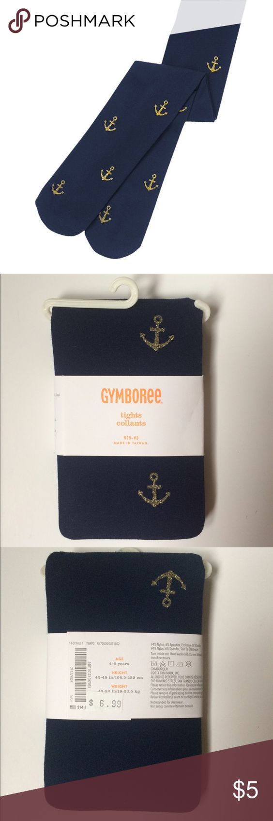 Gymboree navy tights with gold glittery anchors Navy tights with gold glitter anchors. Never opened. Non-smoking home. Purchased to go with Gymboree dress also listed. Gymboree Accessories Socks & Tights