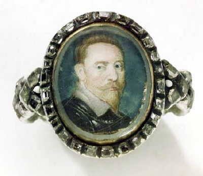 Ring, portrait of King Gustav II Adolf of Sweden, 17th-century.: