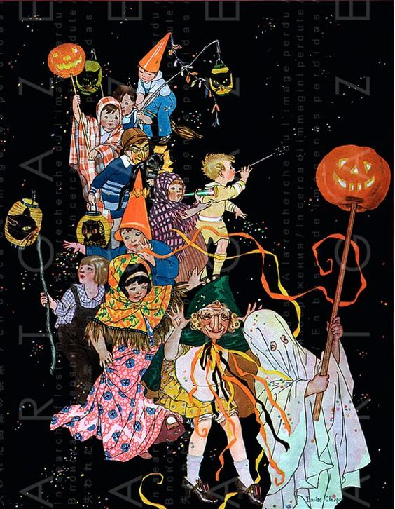 HALLOWEEN CHILDREN PARADE Rare Vintage Halloween Illustration Digital Halloween Download Great For I