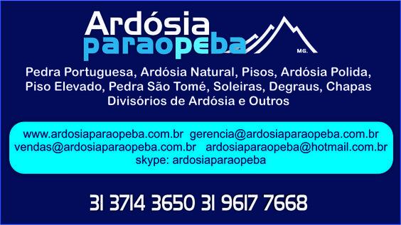 Ao site da empresa Ardósia Paraopeba, nele você terá acesso a nosso catálogo de Pedra Portuguesa,Piso Elevado Pedra Ardosia Natural ou Pedra Ardosia Polida e outras ao Melhor Preço  tel (31) 3714-3650
