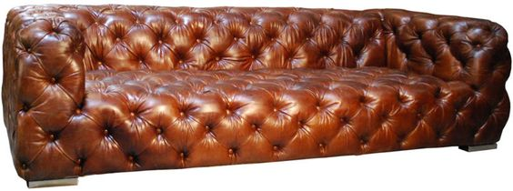 "98"" long Vintage cigar brown leather Tufted 3 Seater Sofa spectacular modern 
