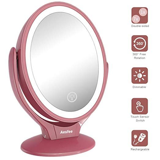 Led Lighted Makeup Vanity Mirror Rechargeable 1x 7x Magnification Double Sided 360 Degree Swivel Magnifying Mirror With Dimmable Touch Screen Portable Tabletop Makeup Vanity Mirror Illuminate Cosmetics Cosmetic Mirror