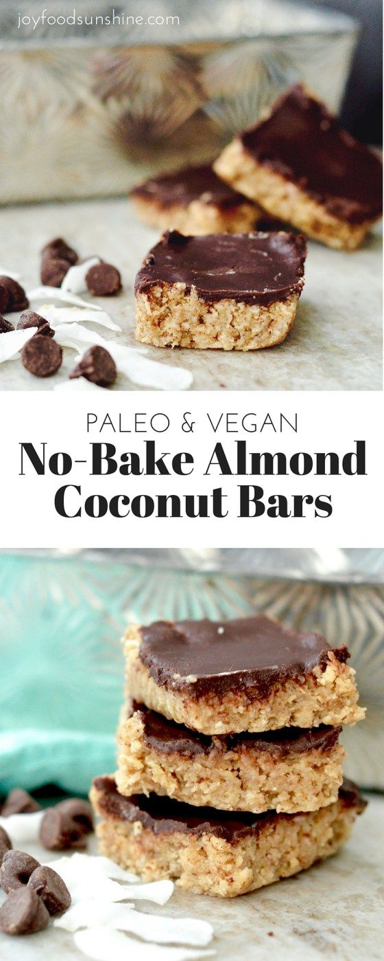 No-Bake Coconut Almond Bars Recipe! Packed full of nutritious ingredients, this healthy dessert is so easy to make! Paleo, vegan, gluten-free, dairy-free & refined sugar-free!