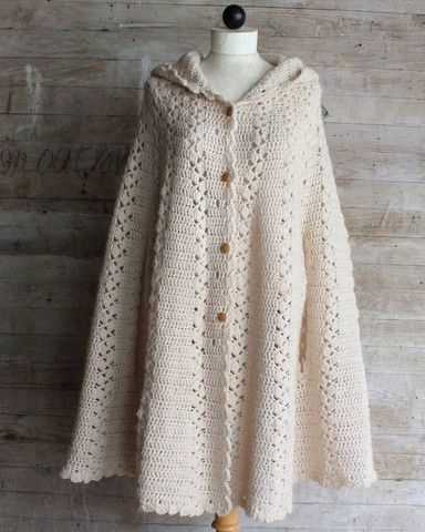 Picture of Long Hooded Cape Crochet Pattern:
