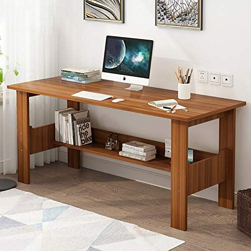 Cdto Wood Compact Home Office Desk Modern Writing Desk Shelf Computer Desk For Small Spaces Pc Laptop Desks For Small Spaces Office Table Desk Bookshelf Desk