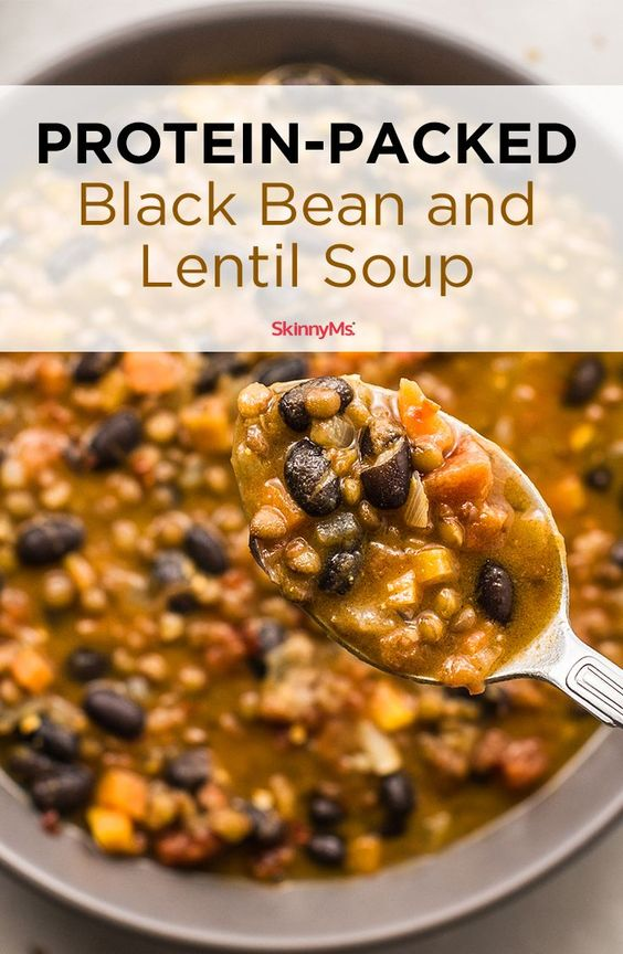 You'll love this protein-packed black bean and lentil soup. It's a great vegetarian recipe that will make Meatless Mondays even tastier. #foodrecipes