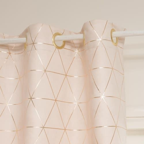 Single Beige And Gold Eyelet Curtain 135x250 Bedroom Decor Lights Rose Gold Curtains Rose Gold Decor