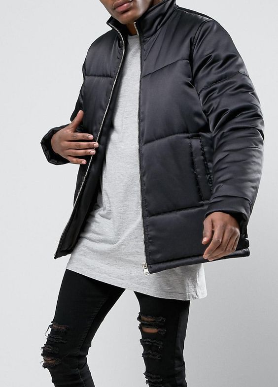 Puffer Jacket With Gold Zips in Black   from ASOS (men, style, fashion, clothing, shopping, recommendations, stylish, menswear, male, streetstyle, inspo, outfit, fall, winter, spring, summer, personal)